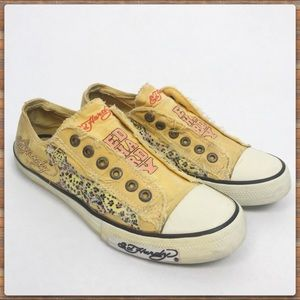 Ed Hardy low rise sneaker yellow with jaguar